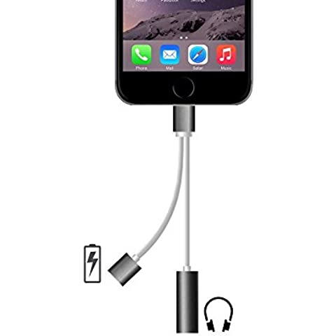 2 in 1 Lightning Adapter for iPhone 7, Charger and 3.5mm Earphone Jack Cable Adapter (No Music Control) for the iPhone 7 7 Plus 6S 6 iPod iPad