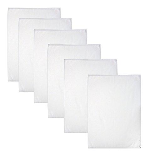 Geschirrtuch 50x70 cm aus 100% Baumwolle Trockentuch Küchentuch Serviertuch Gastronomiebedarf Weiß, Stückzahl:6 Stück