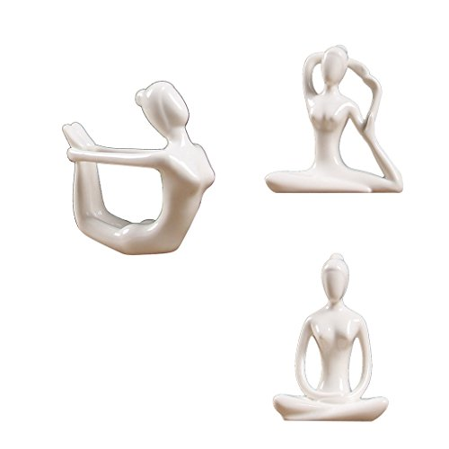IPOTCH 3X Cerámica Figura De Yoga Ornamento Estatua Escultura Jardín Zen Home Desk Decor