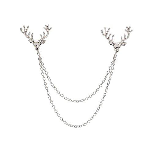 Fengteng Unisex Hirsch Brosche Hängende Kette Deer Broschen mit Sweater Clip Quasten Kragen Clip Anzug Anstecknadel Abzeichen (Silber)