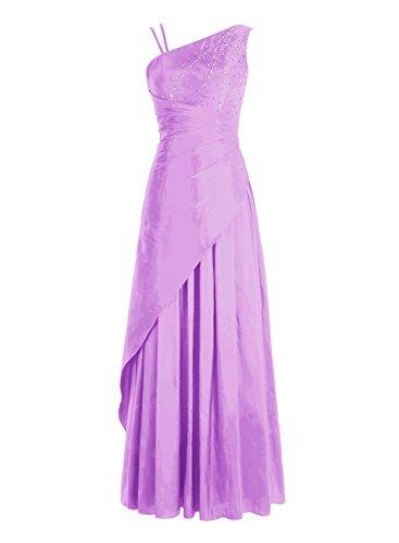 Bbonlinedress Robe de cérémonie Robe de bal emperlée en satin épaule asymétrique longueur ras du sol Lilas