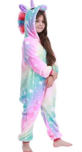 Adulto e bambino unisex unicorno tigre leone volpe tutina animale cosplay pigiama costume di carnevale di halloween fancy dress loungewear (a-colorful galaxy, s altezza di 145-155 cm)
