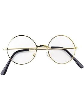 Retro Redondo Marco Gafas - Niños Niñas Geek / Nerd Lectura Eyewears Metal Marco sin Lente Gafas con Forma de...