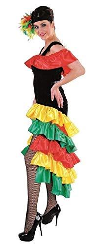 narrenkiste M213177-2-XS schwarz-bunt Damen Brasilien Kleid Rio Kostüm Gr.XS