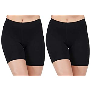AJ FASHIONS Spandex Soft Cotton Lycra Cycling Black Shorts for Girls/Women/Ladies – Pack of 2