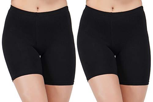 AJ FASHIONS Spandex Soft Cotton Lycra Cycling Black Shorts for Girls/Women/Ladies – Pack of 2