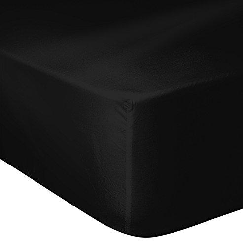 Home Passion Drap Housse 57 Fils, Coton, Noir, 180x200 cm