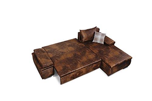 Mein Sofa CLVint Vintage Eckgarnitur Cali mit Schlaffunktion und Bettkasten, circa 274 x 85 x 180 cm - Sitzhöhe circa 42 cm, Kunstleder, Recamiere rechts oder links verwendbar - 5