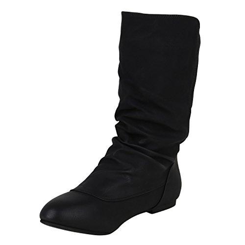 Stiefelparadies Damen Stiefel Flache Boots Schlupfstiefel Flandell Schwarz Zierknöpfe