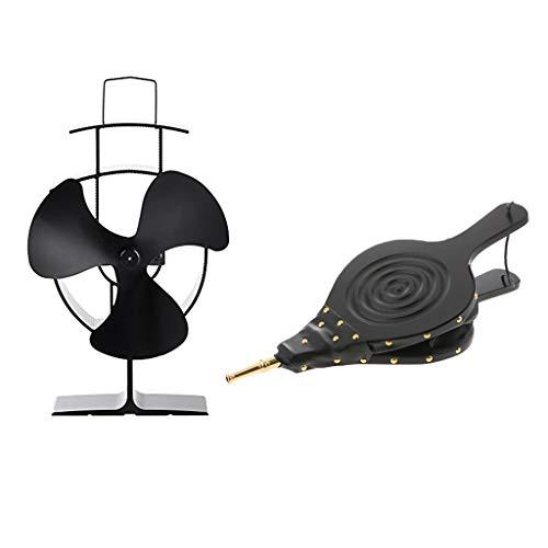 Sharplace Ventilateur De Cuisinière Alimenté par Chaleur à Pales pour Cheminée à Bois + Soufflet - 3 Lames 45 * 20CM