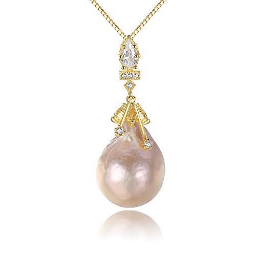 J.Memi\'s Schmuck Halskette Natürliche Barockperle 925 Sterling Silber Zirkonia Anhänger für Mädchen Freundin Mutter Tochter, Pink
