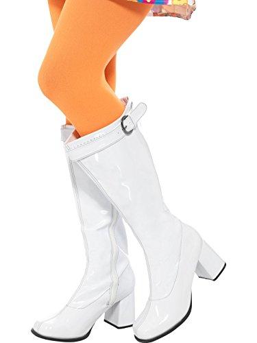 (Smiffys 48061S - Damen GoGo Stiefel, 7.6 cm Absatz, Größe: 39.5-40.5, weiß)