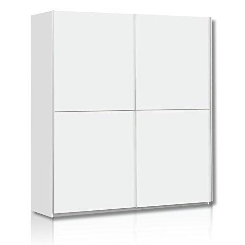 FORTE Winner Schwebetürenschrank mit 2 Türen, Holzwerkstoff, Spanplatte, Weiß Matt, 170.3 x 61.2 x 190.5 cm