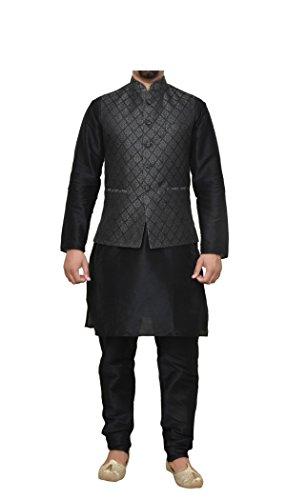 Mag Men's Black Matching Silk Kurta Churidhar With Black 2nd Waistcoat (RG-10049-38)