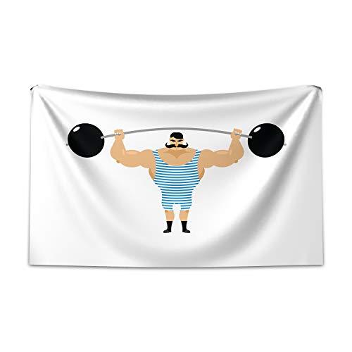 ABAKUHAUS Zirkus Wandteppich und Tagesdecke, Bodybuilder Gewichtheben aus Weiches Mikrofaser Stoff Kein Verblassen Klare Farben Waschbar, 230 x 140 cm, Mehrfarbig