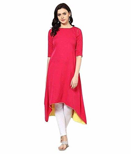 Shadow Export Women's Cotton Asymmetrical Kurti (1018_pink_Pink_XL)