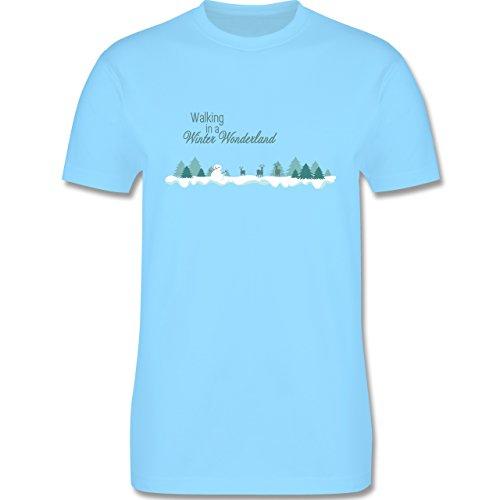 Weihnachten & Silvester - Walking in a Winter Wonderland Schnee - Herren Premium T-Shirt Hellblau