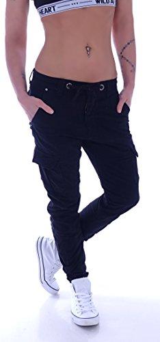 Damen Boyfriend Jeans Cargohose Cargo Hose Baggy Haremshose Chino XS 34 S 36 M 38 L 40 XL 42 (M 38, Schwarz)