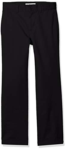Amazon Essentials Straight Leg Flat Front Uniform Chino pants, Black, 8(S) -