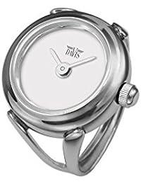 Davis 4181 - Reloj anillo ajustable para mujer, esfera blanca con cristal de safiro