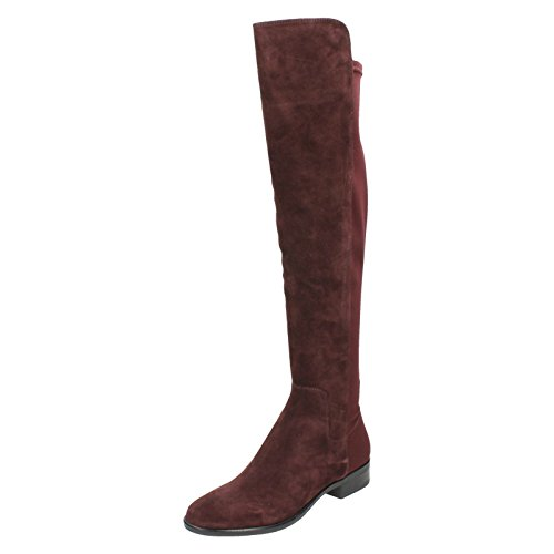 Clarks Caddy Belle Womens Lange Stiefel 4 D (M) UK/ 37 EU Aubergine Wildleder -