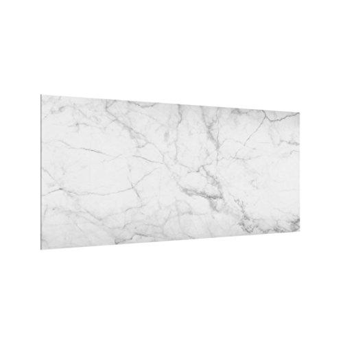 Bilderwelten Spritzschutz Glas - Küchenrückwand Marmoroptik Weiß - Quer 1:2, 40cm x 80cm
