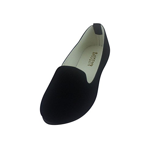 MISSMAO Frauen Damen Slip on Flache Schuhe Sandalen Casual Ballerina Schuhe Schwangere Frau Schuhe,Schwarz,EU 40