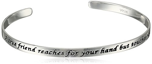 Amazon Sterling Silver A True Friend Reaches For Your Hand But Touches Your Heart Cuff Bracelet