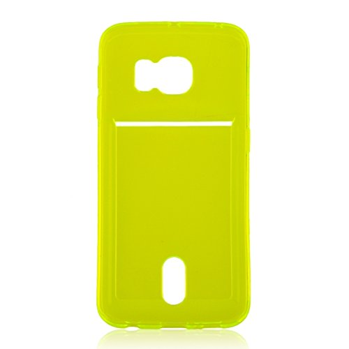 Wkae Case Cover Für Samsung Galaxy S6 Rand / G925 Ultradünner TPU Fall mit Karten-Slot ( Color : Green ) Green