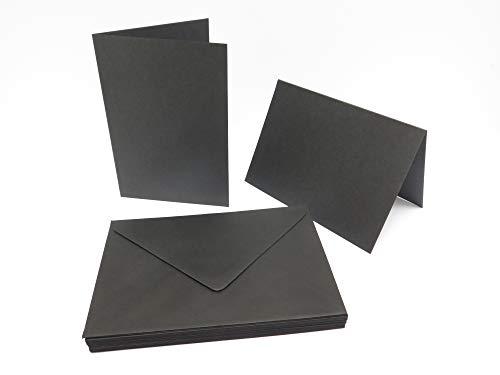 20 x Black Blank Greeting Cards A6 300gsm 105x148mm + 20 Black Env 114x163mm AM14