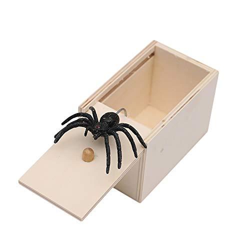 Piccola Scatola di Legno Spaventosa Scherzo Giocattolo Sorpresa Divertente bavaglio per Regalo di Festa di Ragazze dei Ragazzi Crazy lin Scatola da Scherzo Spider Prank