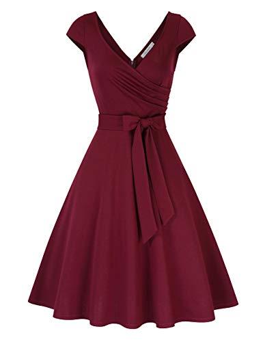 KOJOOIN Damen Vintage 50er V-Ausschnitt Abendkleid Rockabilly Retro Kleider Hepburn Stil Cocktailkleid Weinrot XL