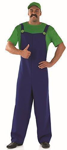 Herren Erwachsene Super Mario oder Luigi Brothers 1980s 80s Klempner Kostüm Kleid Outfit - Grün, Large