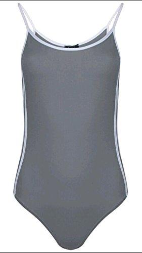 Ladies Sport Side Stripe Bodysuit Taille EU 36-42 Gris