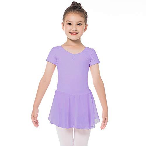 Kinder Kurzarm Ballettkleid aus Baumwolle mit Chiffon Kleider Ballett Trikot Turnanzug für Mädchen (110 (100-110cm, 4-5 Jahre), Lila)