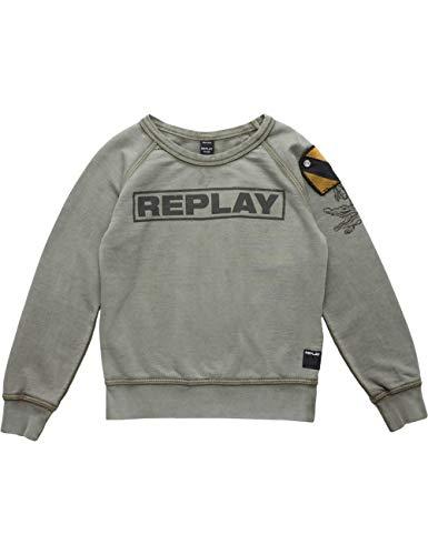 Replay Jungen SB2032.051.22072 Sweatshirt, per Pack Grün (Military Green Powder 103), 128 (Herstellergröße: 8A) Logo Military Sweatshirt