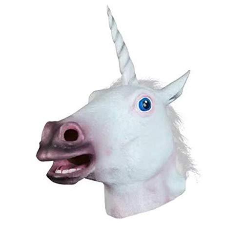 Pferdemaske Pferde Kostüm Maske Latex Tiermaske Pferdekopf Erwachsene Pferd Einhorn Maske für Halloween Party Dekoration Unisex Einheitsgröße Perfekt Ostern - Karneval (Für Erwachsene Pferde Kostüm)