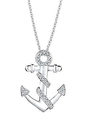Elli Damen-Kette mit Anhänger Anker Maritim 925 Sterling Silber Swarovski Kristall im Brillantschliff