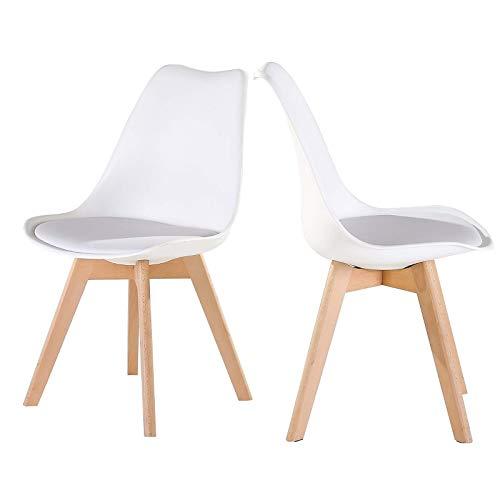 colourliving Lot de 2 chaises de Cuisine au Design rétro Blanc en Simili Cuir avec Rembourrage et Pieds de Chaise en Bois Massif