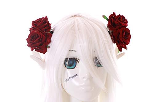 Kawaii-Story C-39-3 Weiß Widder Satan Hörner rote Rosen Fantasy Wald Fee Teufel Kopfschmuck Clips Gothic Lolita LARP