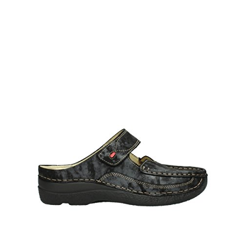 Wolky Comfort Clogs Roll Slipper - 10003 schwarz metallic Nubuk - 43 (Nubuk Comfort-clogs)
