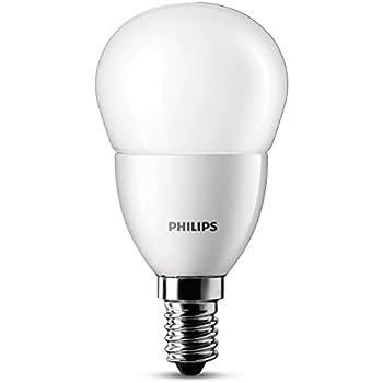 Philips - Bombilla LED esférica, casquillo E14, luz blanca cálida