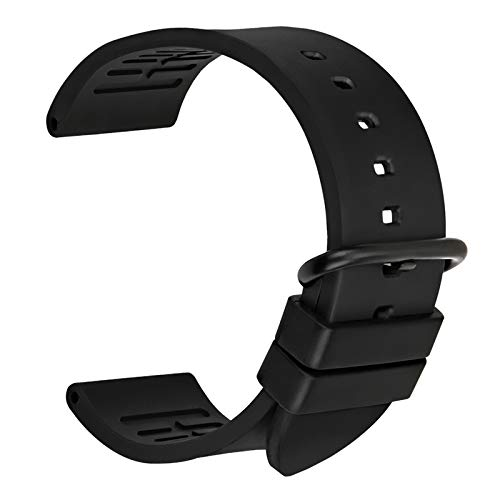 Uhrenarmband 22mm, MAIKES Fluoro Kautschuk Armbanduhren mit Edelstahl Gürtelschnalle Ersatz Schlaufe Handgelenk Uhrband für 20mm 22mm 24mm für Herren Damen (Band Width 20mm, Black+Black Buckle)