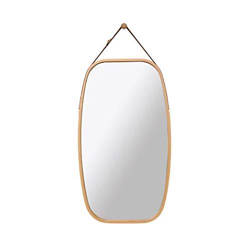 Home warehouse Espejo de baño Ovalado, Espejo de Pared de bambú Creativo Espejo de baño Espejo de decoración Espejo de Maquillaje Barbería Espejo Colgante Tienda de Ropa Espejo de tocador,Wood