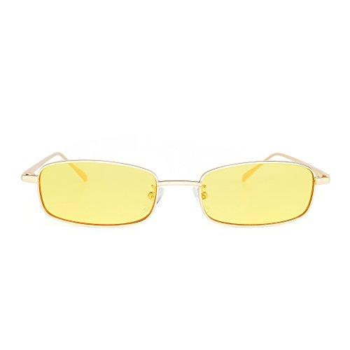 JIM HALO Klein Klar Linse Getönte Sonnenbrille Schlankes rechteckiges Metall Brillen Damen Herren (Gold/Gelb)