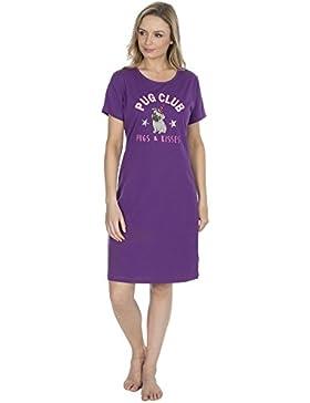 Camicia da notte da donna in Pug o unicorno 100% cotone