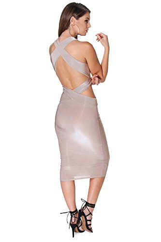 Grau Damen Lana Slinky Schneiden Out Detail Midi Kleid Grau