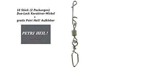 Jenzi Set: 2 Packungen (insgesamt 10 Wirbelkarabiner) Knotenlos Schnurverbinder mit Wirbel und Duo-Lock Karabiner+ gratis Petri Heil! Aufkleber (38 kg) -