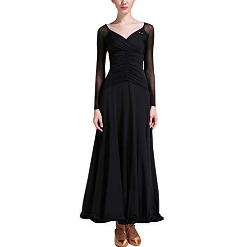 Schwarz Kostüm Dance Contemporary - TAAMBAB Eine Linie Modern Standard Tanzkleid Damen - Gesamtlänge Gefaltete Luftschlangen Swing Ballsaal Kleider