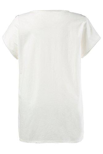 Ulla Popken Damen große Größen   Oversized Shirt   Vorne Web mit Schrift-Motiv   Rundhalsausschnitt   Überschnittene Schultern   Passform: OVERSIZED   bis Größe 62+   710529 Offwhite